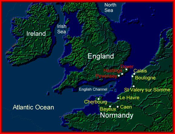 Location of Normandy to England