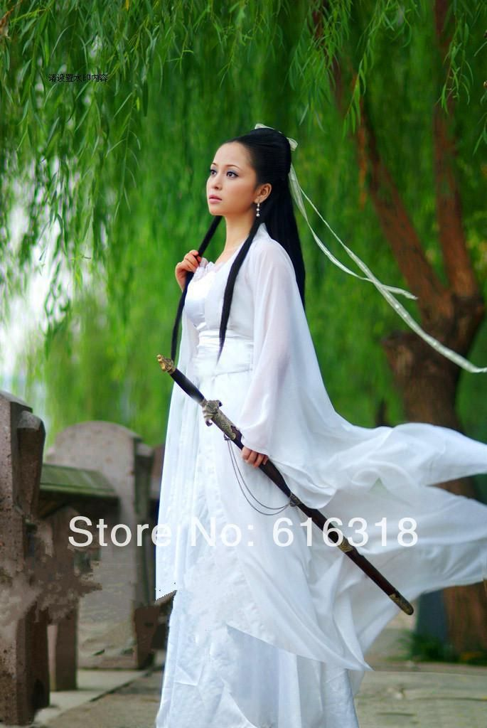 Costume Ancient Chinese Dragon Fairy Sword Lady White And