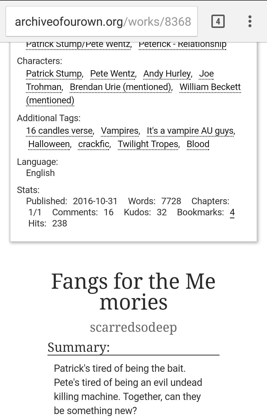 Vampire Fic Patrick Joe And Andy Are Vampire Killers Who Get Saved And Joined By Vampire Pete Who Feeds On Patrick Http Archiv Andy Hurley Joe Trohman Words
