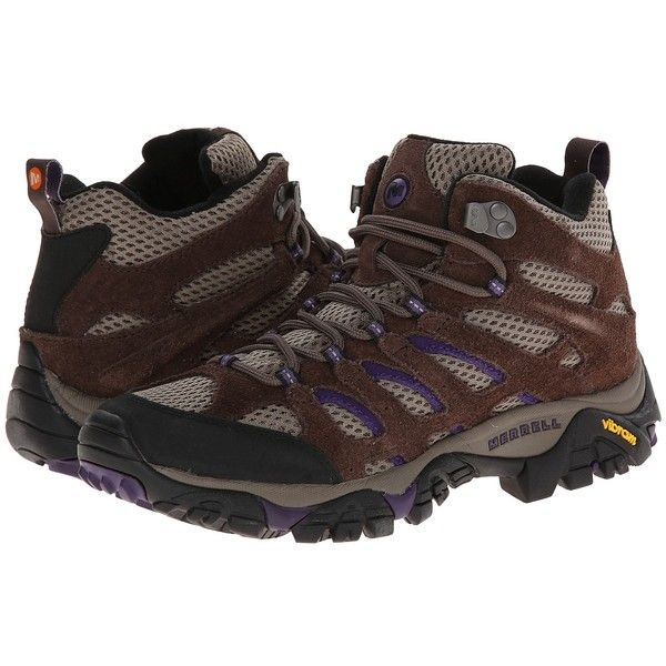 Merrell Moab Ventilator Mid (Bracken/Purple) Women's Hiking Boots ($110) ❤ liked on Polyvore featuring shoes, athletic shoes, hiking boots, platform shoes, sports shoes, summer shoes and leather hiking boots