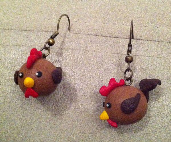 Boucles d'oreilles petites poules