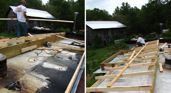 Building A New Roof For A Mobile Home Mobile Home Roof Mobile Home Exteriors Remodeling Mobile Homes