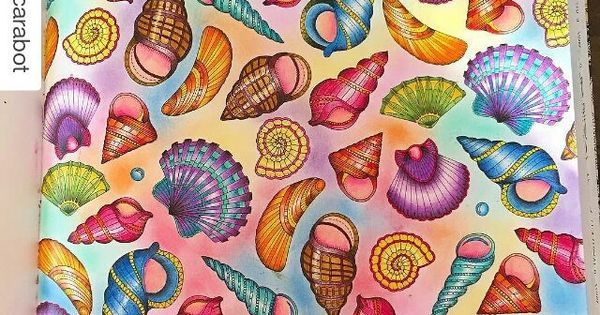 Seashells Lost Ocean Finished Coloring Page Johanna Basford Lost Ocean Johanna Basford Coloring Book Johanna Basford Coloring