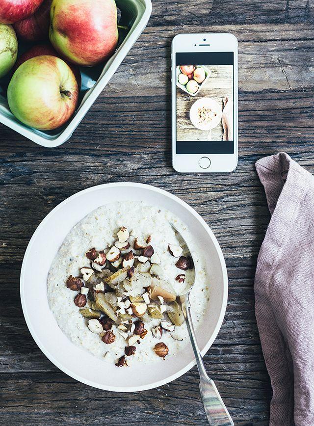Mættende grød med vanilje, hasselnødder & æblekompot