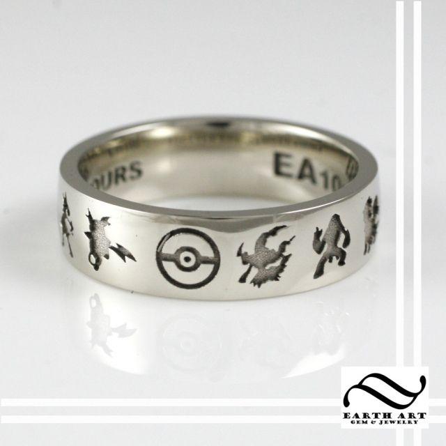 Custom 10k White Gold Pokemon Wedding Band Www Earthartgemandjewelry Com Pokemon Jewelry Geeky Engagement Rings Nerdy Wedding Rings