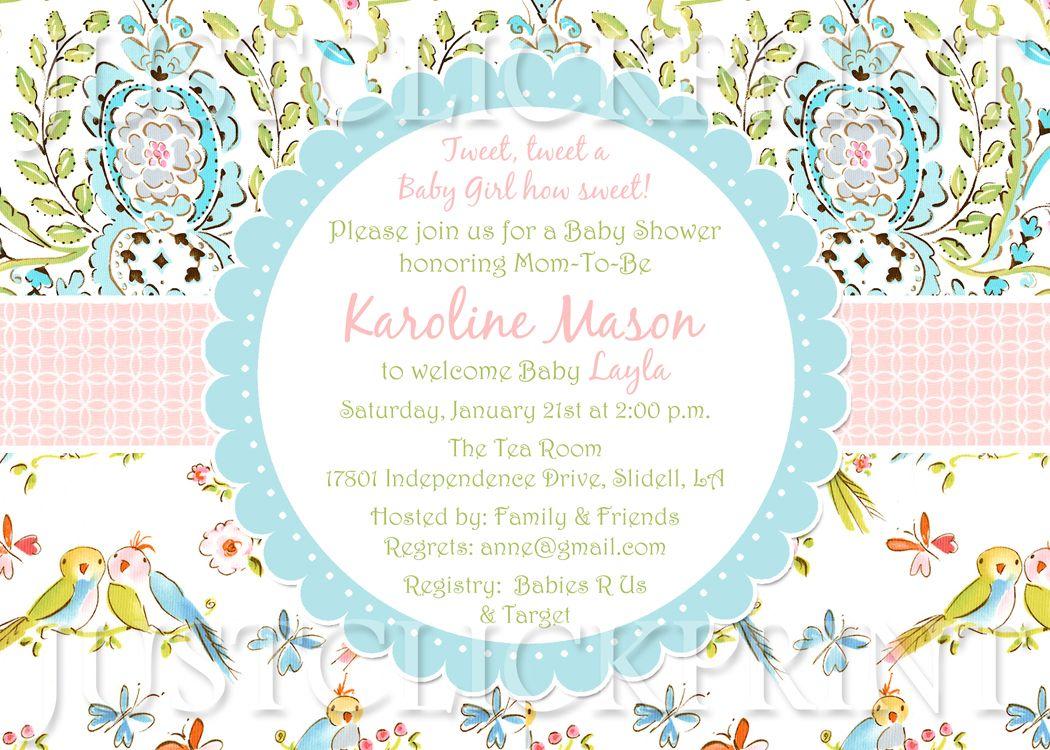 Tweet Little Love Birds Baby Shower Invitation Printable from Just ...