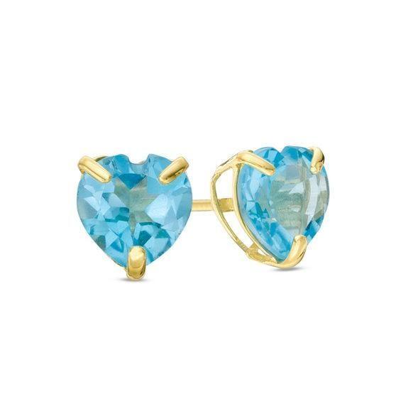 Zales Pear-Shaped Rainbow Blue Topaz Solitaire Stud Earrings in 10K Gold IeWbU6qU