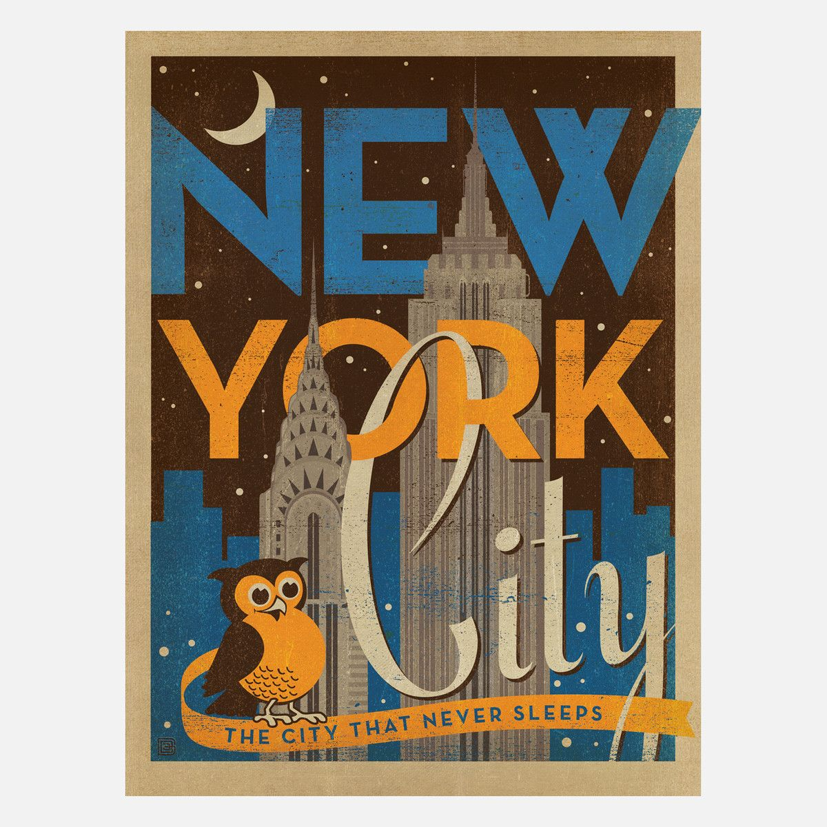 I Liked This Design On Fab New York Night Extra Aged 18x24 City Wall Art Gallery Wrap Canvas Vintage Advertisement