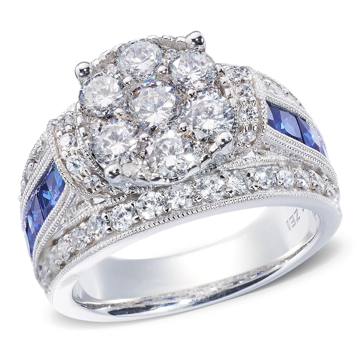 1 95 CT T W Diamond and Sapphire Engagement Ring in 14K White or