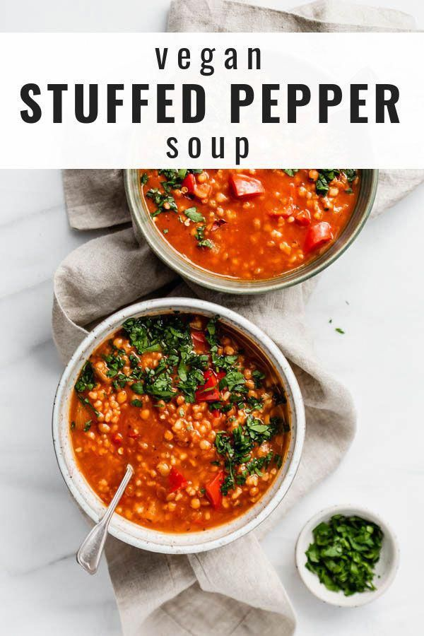 This vegan stuffed pepper soup is a healthy recipe that is so easy to make! It's filling and loaded with lentils, rice and of course peppers!