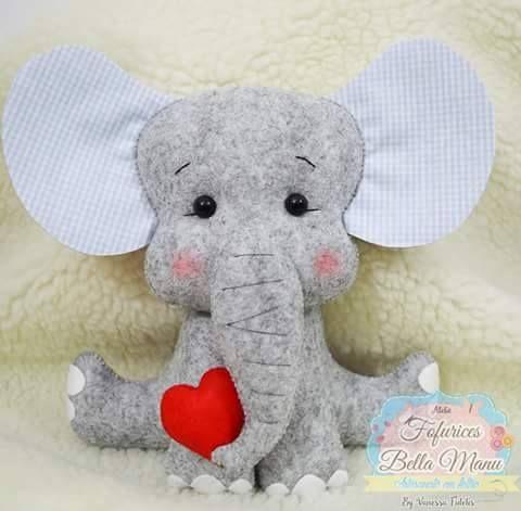 Como hacer elefantes de fieltro con moldes elefantes - Decorar cojines con fieltro ...