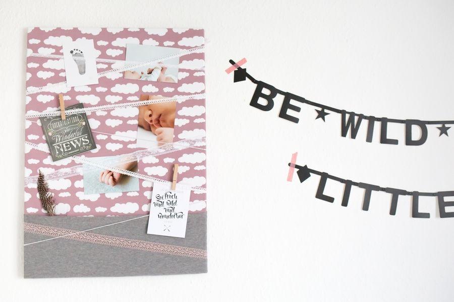 Bastel dir deine individuelle Pinnwand mit Stoff für deine Fotos, Karten und Notizen. Die DIY-Bastelanleitung gibt es im Online Magazin Klick.Klind.