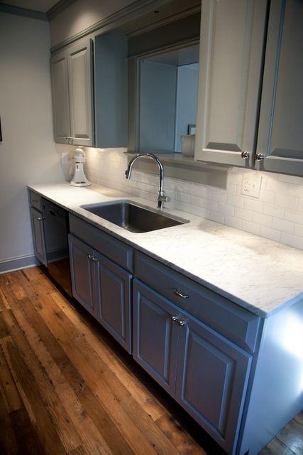 Kitchen Cabinets painted in Benjamin Moore Fieldstone ...