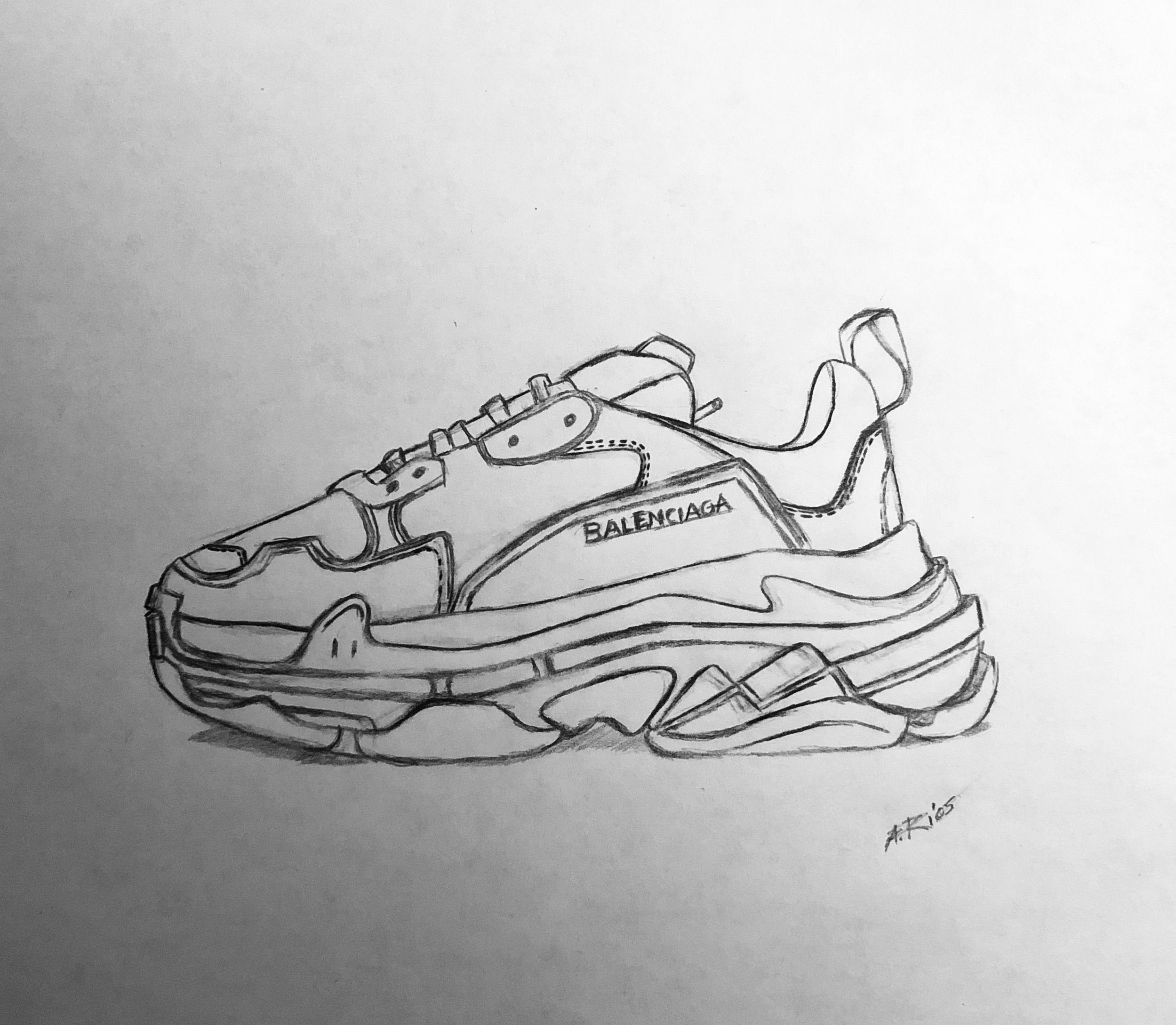 Sketch And Obsession Of Balenciaga Triple Trainers. Demna Gvasalia Bestselling Sneakers