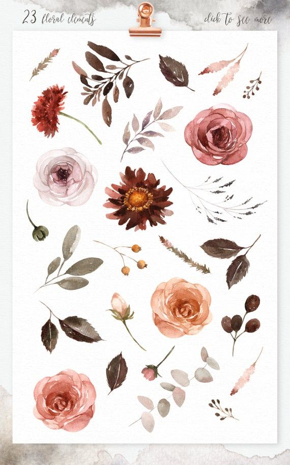 Burgundy Floral Watercolor clipart, Romantic wedding, rustic flower, watercolor bouquet, wedding invitation, peonies flowers, vintage flower