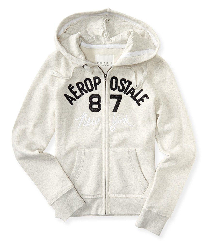 Aeropostale Aero NY Women Long Sleeve Full Zip Pull Over Hoodie Sweat Shirt 7795