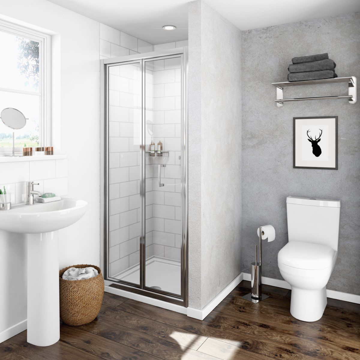 The V4 Bifold Shower Door is a great space-saver as the door folds in & The V4 Bifold Shower Door is a great space-saver as the door folds ...