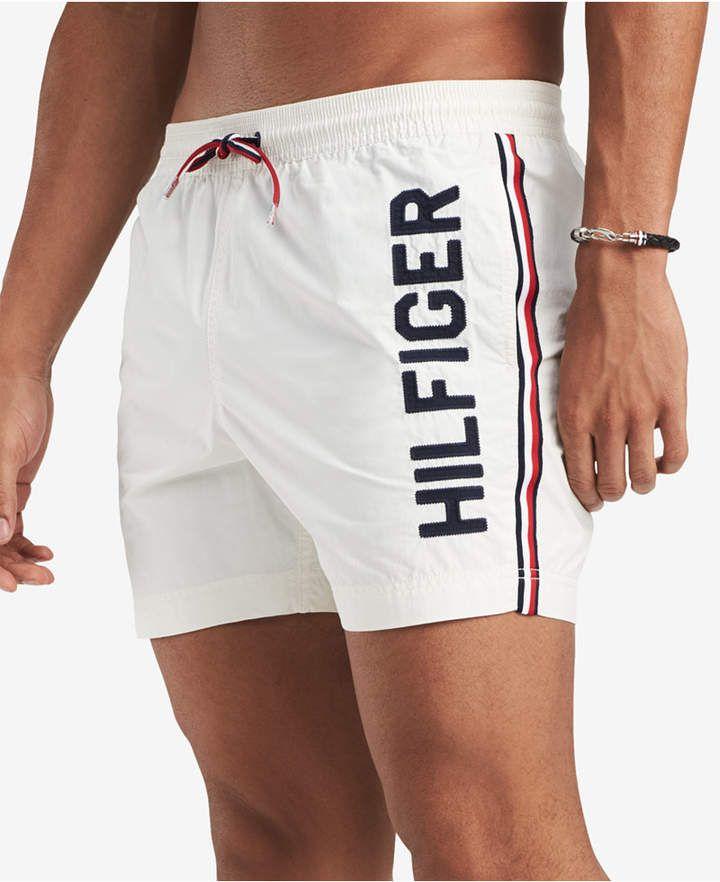 6e7e802c3a Tommy Hilfiger Men's Blue Water 5 Swim Trunks, Created for Macy's ...