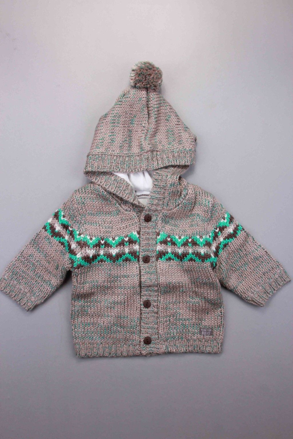 4ee9d2785 Boys & Children's Multi Coloured Newborn Baby Boy | Adams Kids Clothing | 3  Pommes Taupe Baby Knitted Hooded Jacket | Child's Ages: 0-3 Months, 3-6  Months, ...
