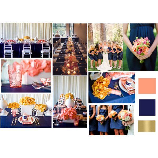 Coral Navy Blue  Gold Wedding Scheme  Wedding Ideas