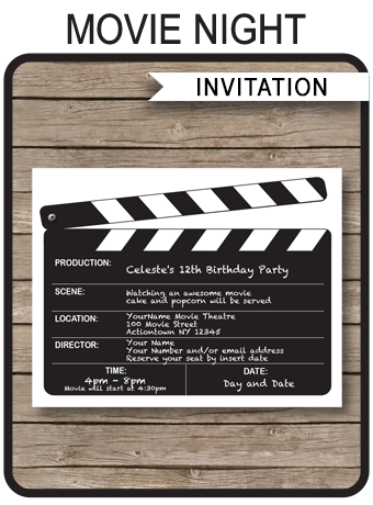 movie night party invitations template sweet 16 pinterest