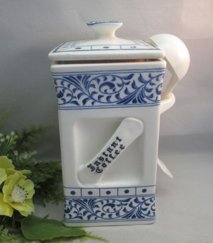 Vtg Hand Painted Ceramic Instant Coffee Canister With Spoon