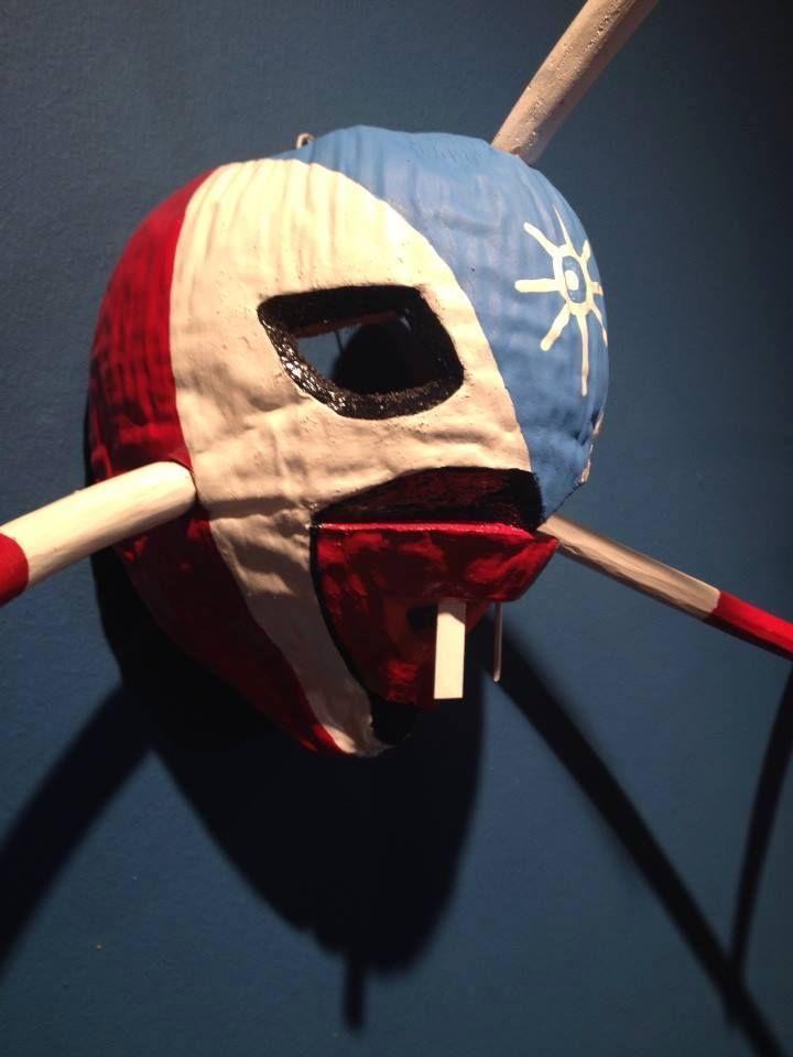 Detalle de máscara de coco de Loíza, por el artesano José L. Rodríguez.