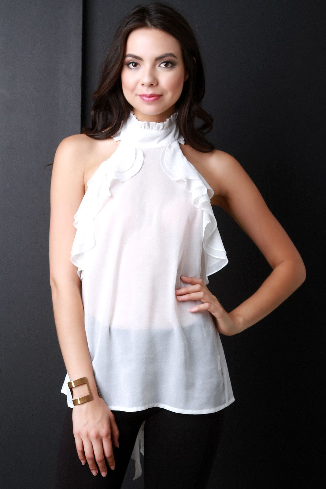 Semi-Sheer Mock Neck Bow Tie Ruffled Top. Semi-Sheer Mock Neck Bow Tie Ruffled Top