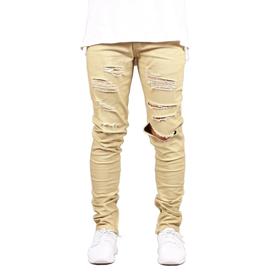 Coolred-Men Elastic Zip Up Ripped Hole Casual Cargo Pant Denim Jeans