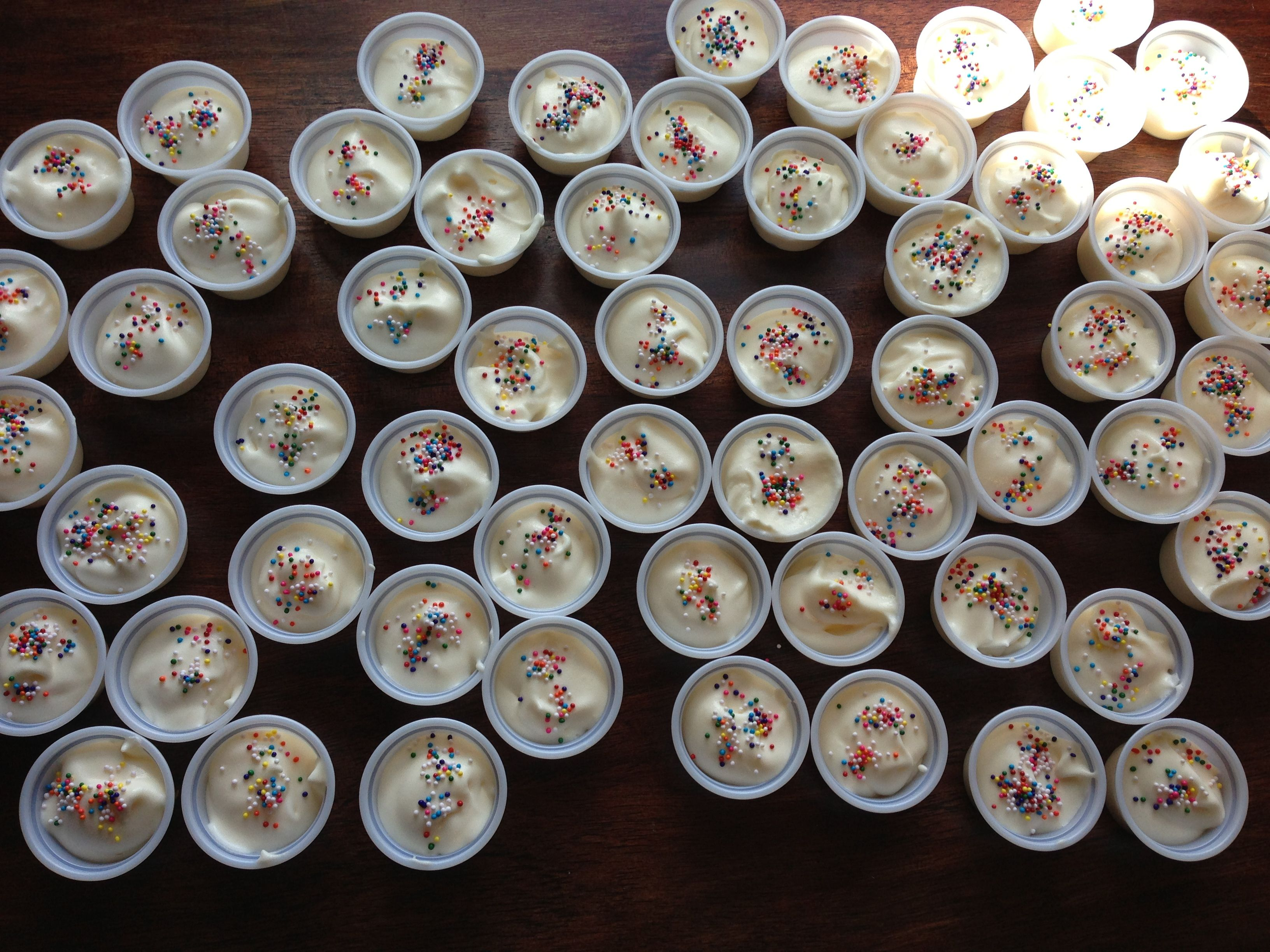BIRTHDAY CAKE pudding shots 1 pkg instant pudding cheesecake flavor