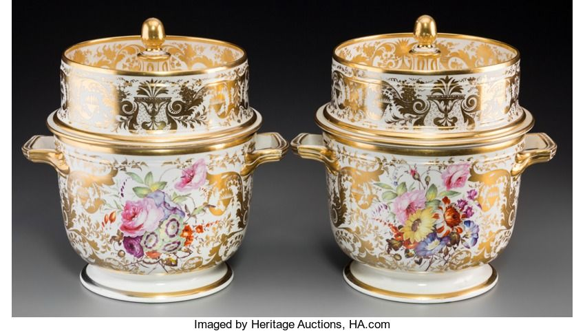 Decorative Arts, British, A Fine Pair of Crown Derby Gilt and Painted Porcelain FruitCoolers, England, circa 1815. Marks: (crown over crossed dotted ...(Total: 2 Items)