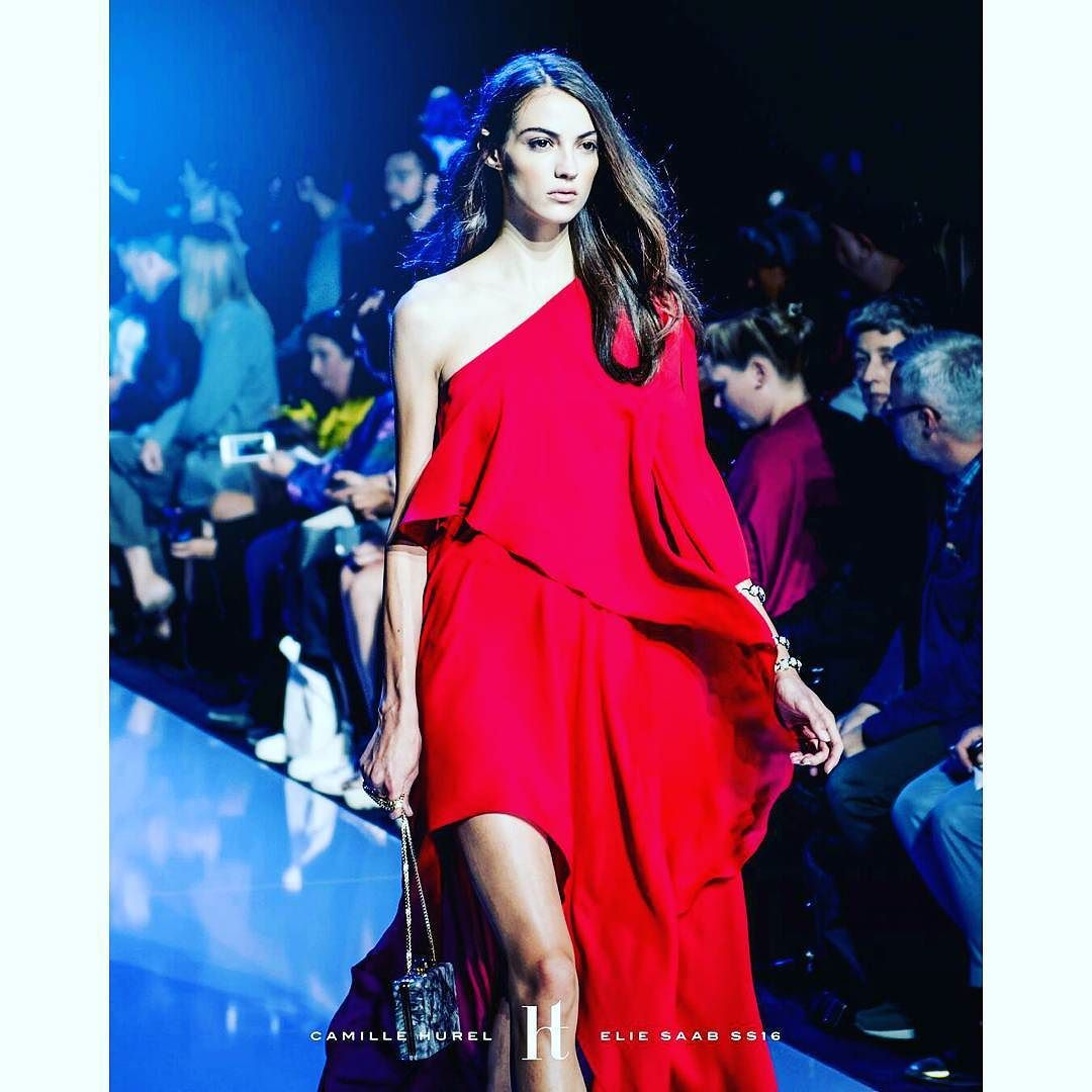@Regrann from @harrison_t -  One of the hottest newcomers Camille Hurel in this stunning clean red gown from Elie Saab's Collection @camhrl @eliesaabworld #Regrann