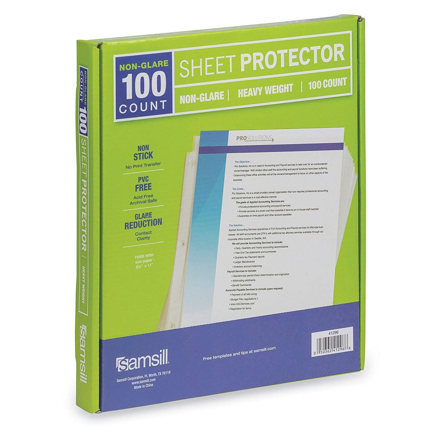 Samsill 100 Non Glare Heavyweight Sheet Protectors Reinforced 3 Hole Design Plastic Page Protectors Arc Sheet Protectors Business Card Sleeve Page Protectors