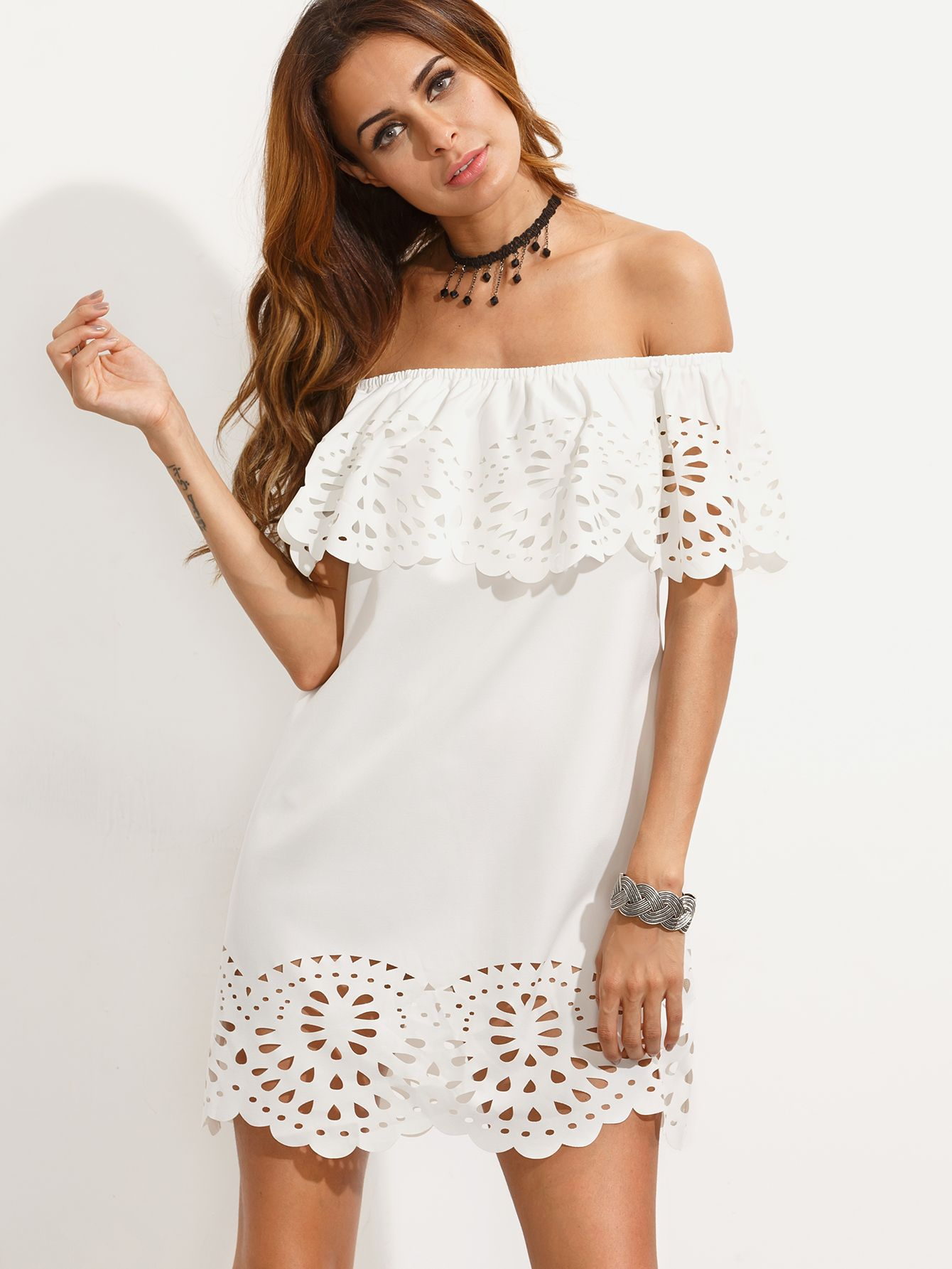ab91410fa0 Shop White Cutout Off The Shoulder Ruffle Dress online. SheIn offers White…