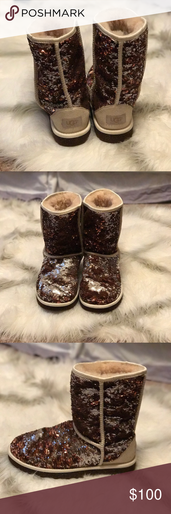 Brown/silver sparkly authentic size 8 uggs!