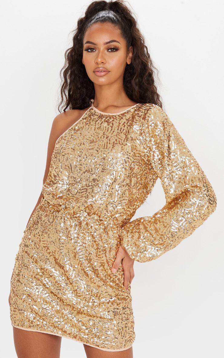 Gold Sequin One Shoulder Balloon Sleeve Shift Dress Sparkly Dress Shift Dress Dresses [ 1180 x 740 Pixel ]