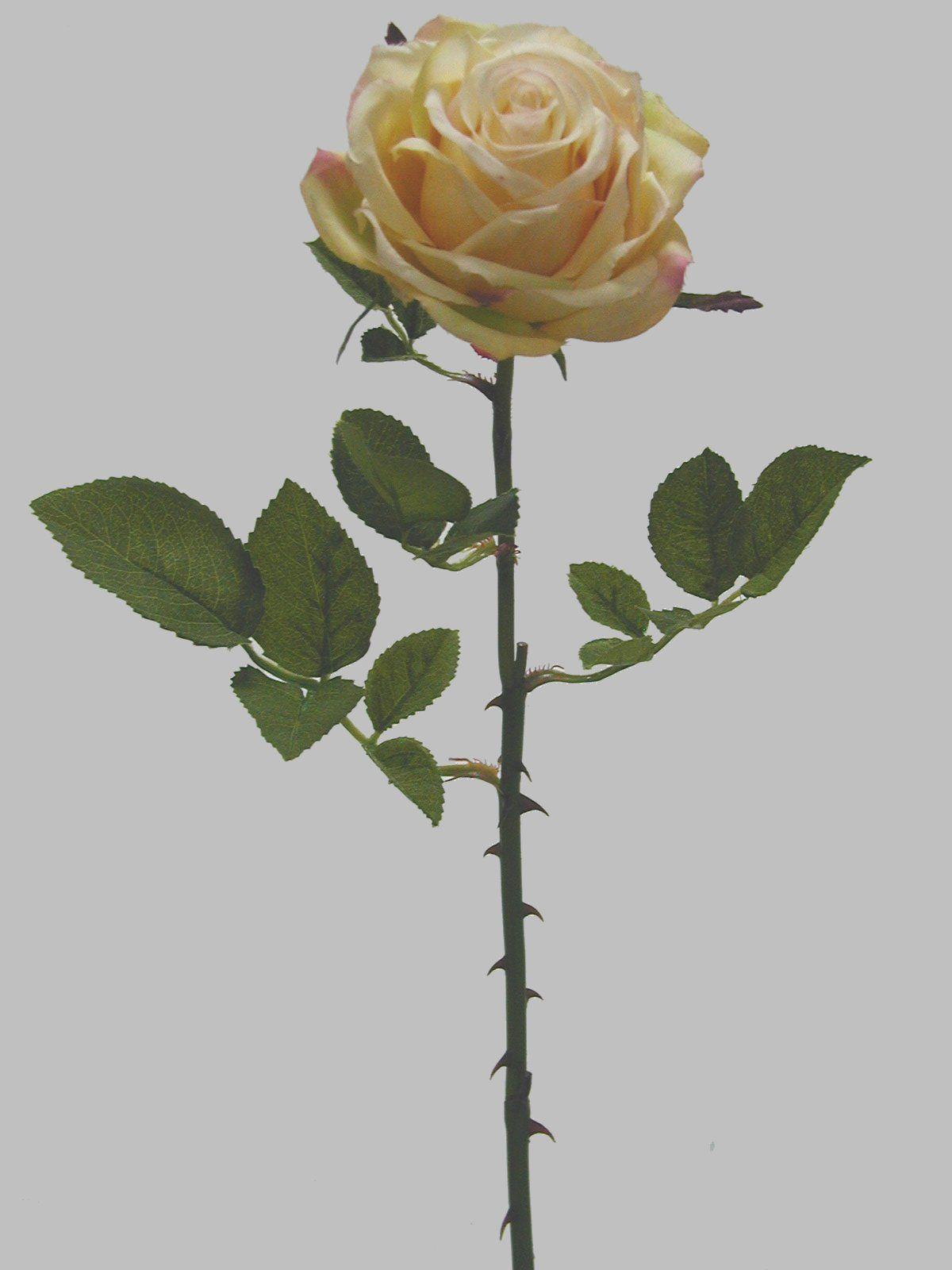 Linda rosa amarela, com 1 botão aberto médio, qualidade extra | Referência: 1356500000354 | Altura: 60 cm | Composição: Tecido, Plástico e Arame