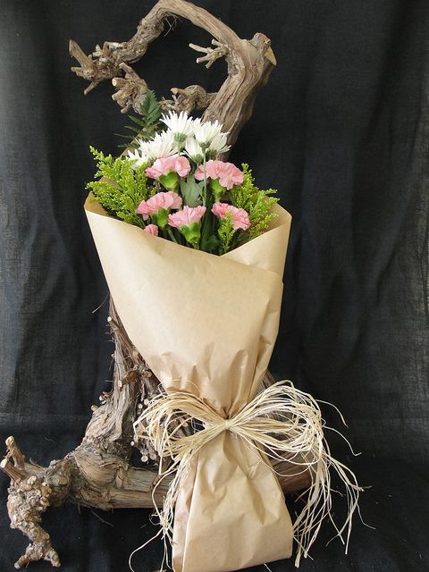 Cone Wrapped Using Brown Paper Flower Wrapping Flower