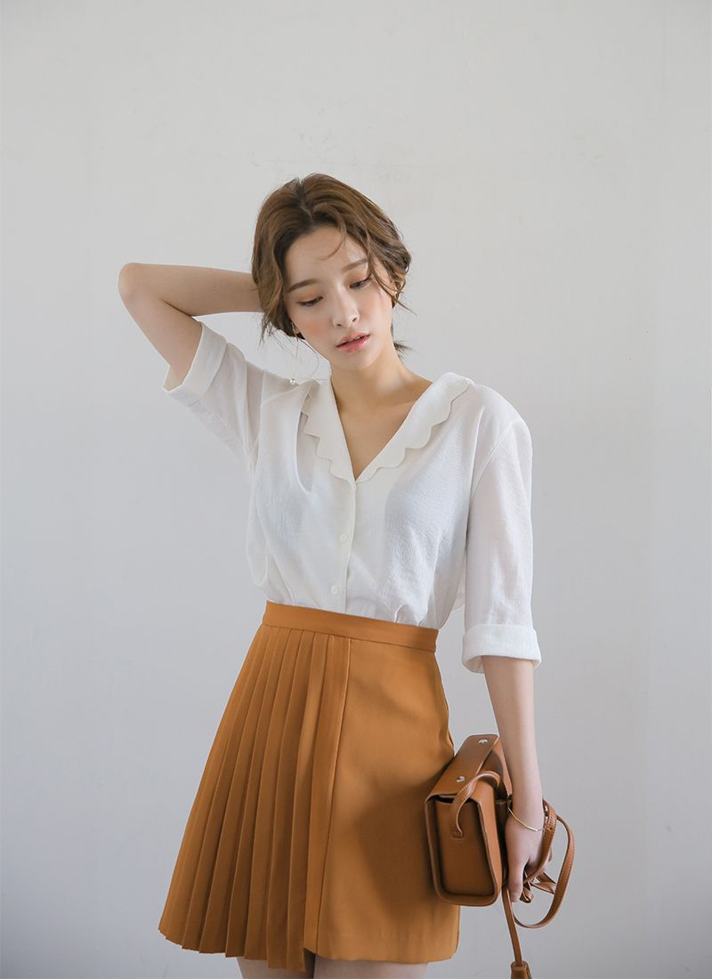 Scalloped Collar Button-Down Blouse | STYLENANDA | Whiskful