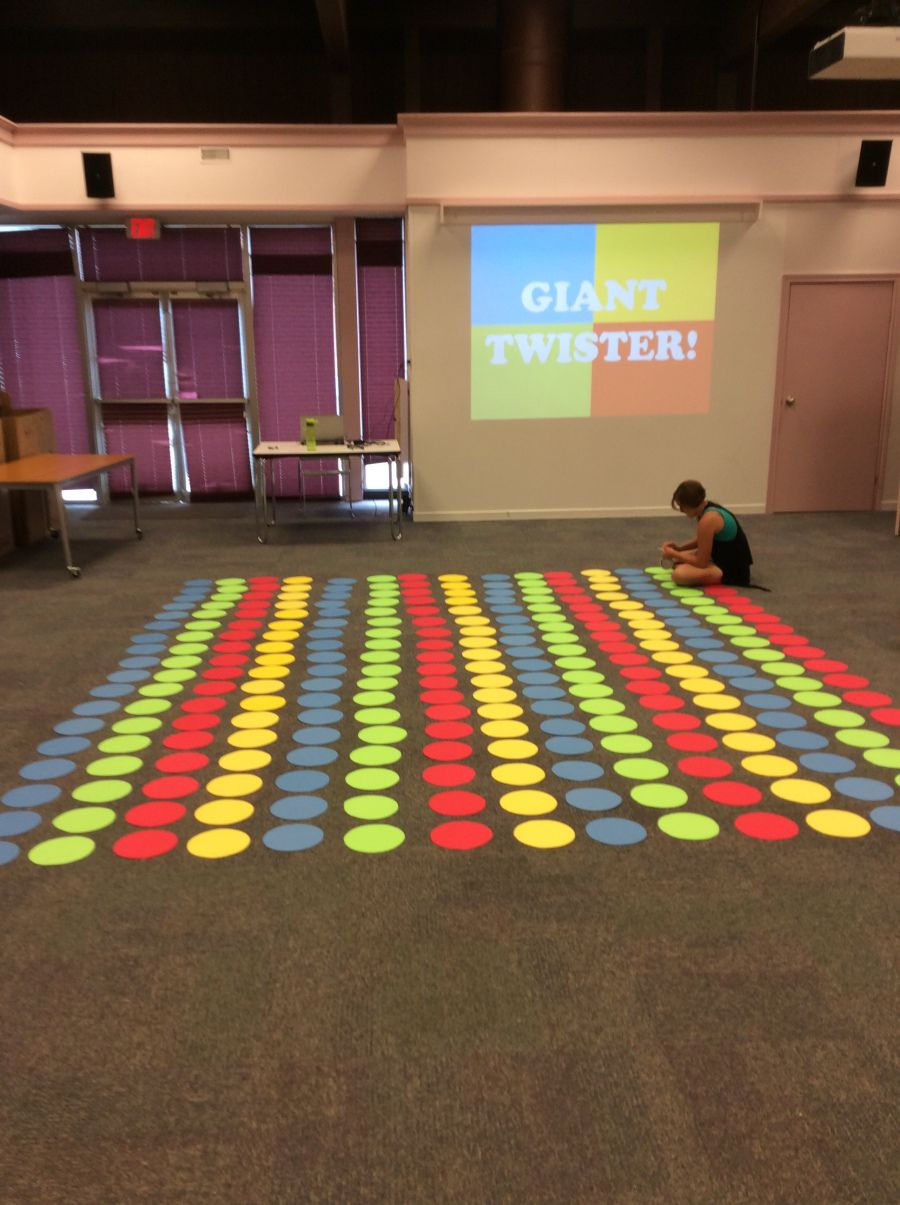 Giant Twister in the Library! Board games for kids