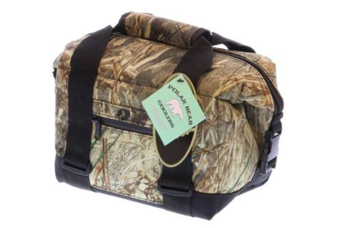 NEW NWT Polar Bear Coolers Mossy Oak 6 Pack Hunting Hiking Travel Picnic Cooler
