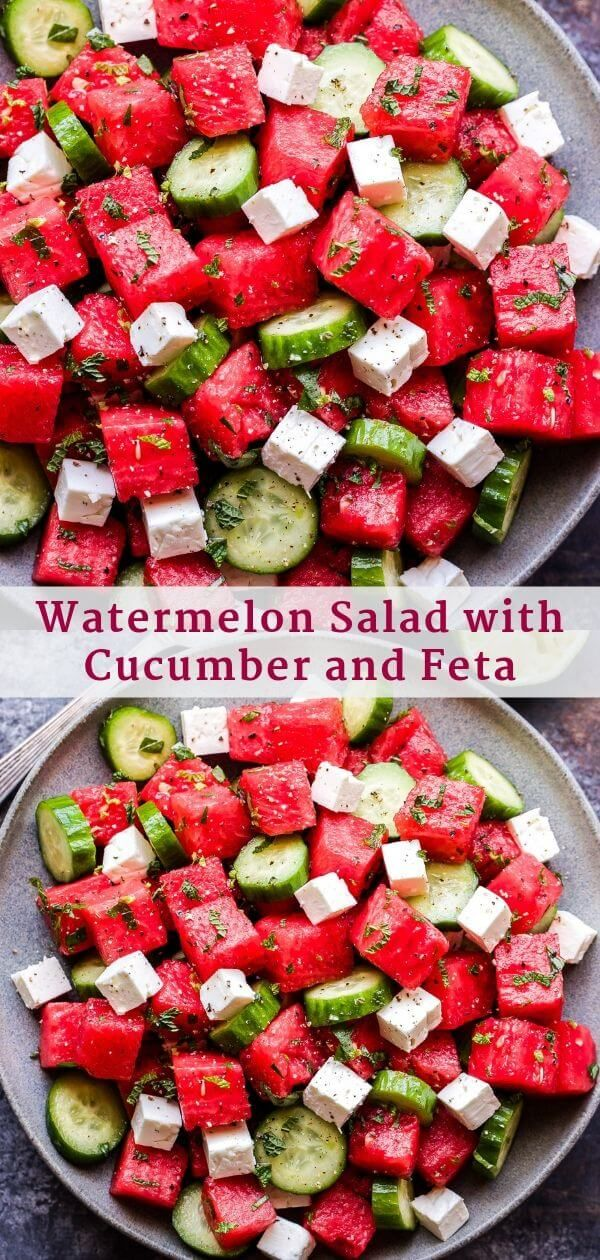 Photo of Watermelon Salad with Cucumber and Feta