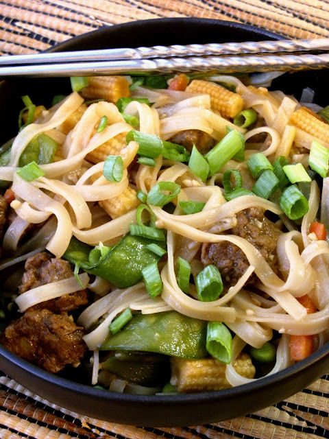 Easy Asian Beefless Noodle Bowl. This is a great and super easy recipe!