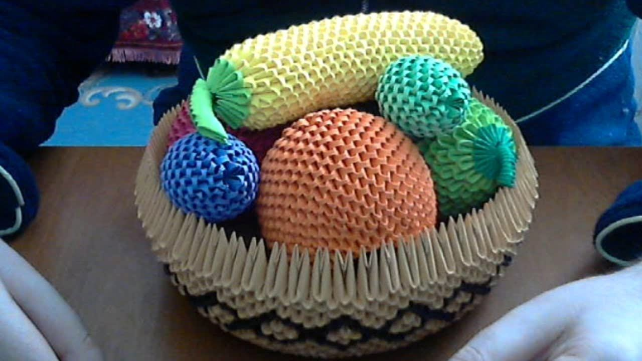 How to make 3D Origami fruit basket . | Origami Projects ...