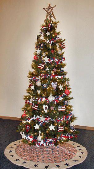 Christmas Tree Theme Americana Patriotic Christmas Tree Patriotic Christmas Christmas Tree Themes