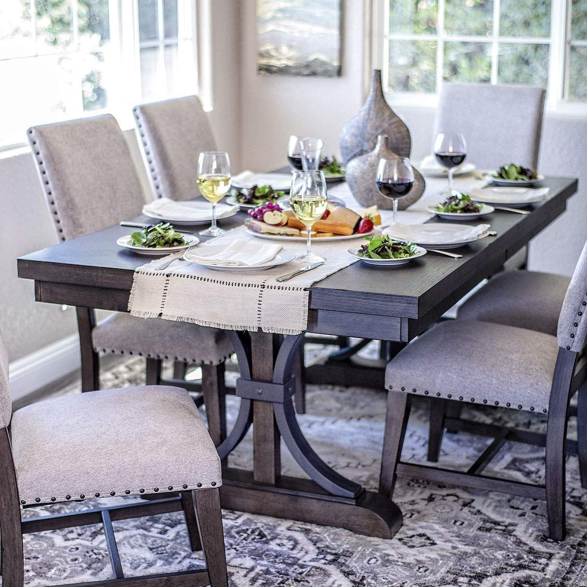 Espresso stained table set w 6 fabric chairs jeromes