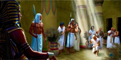 Joseph bowing before Pharaoh in the court of the royal palace. Joseph was humble and redirected credit to God. Genesis 41:14-44