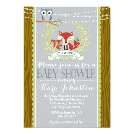 Woodland Baby Shower invitation Fox Owl Invite Woodland baby