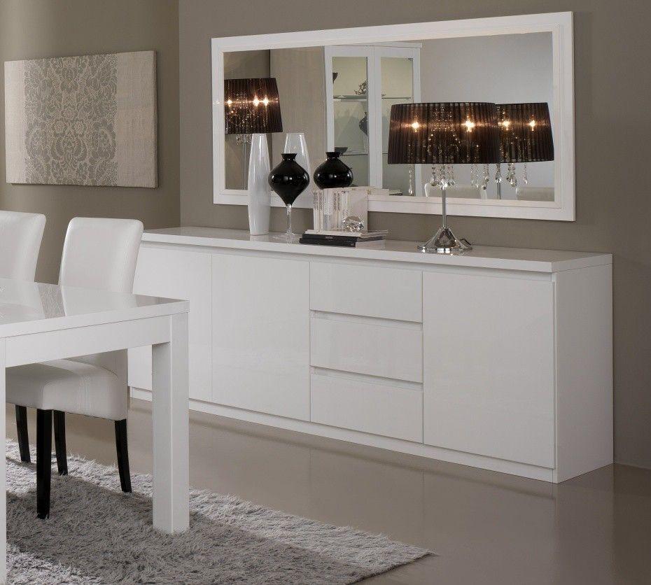 Meuble Bas De Salle A Manger: Buffet/bahut Design 3 Portes/3 Tiroirs Laqué Blanc Cristal