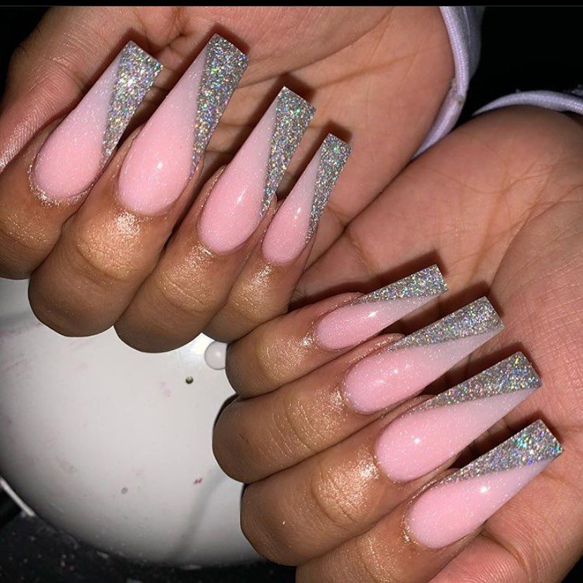 Grippers By Bunny P On Instagram Rate 1 10 Not My Work Just An Inspo Photo Hav In 2020 Glittery Acrylic Nails Pink Acrylic Nails Baby Pink Nails Acrylic
